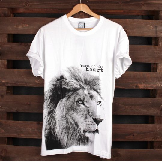 T-shirt Lion - Beats of the heart | bilé
