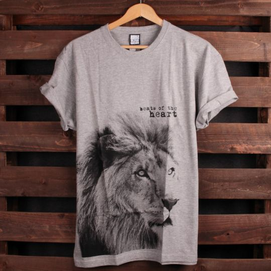 T-shirt Lion - Beats of the heart | šedé
