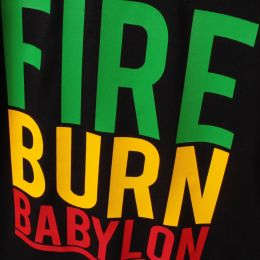 Tričko Fire Burn Babylon - back print | Organic Cotton